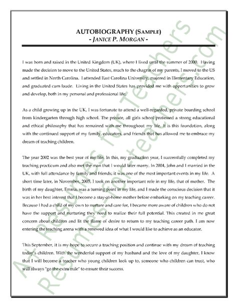 autobiography essay for cda I am writing a autobiography for my cda courses i am experiencing writers block where should i begin writing.