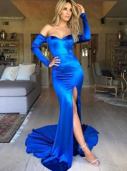 Bright Royal Blue Mermaid Prom Dresses With Sleeves Evening Dresses Long Prom Dresses Long With Sleeves Prom Dresses With Sleeves Evening Dresses With Sleeves