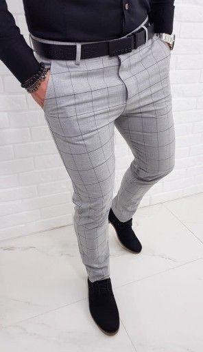 Jasnoszare Eleganckie Spodnie W Czarna Krate 33 8344760551 Oficjalne Archiwum Allegro Men Fashion Casual Shirts Mens Pants Fashion Mens Dress Outfits