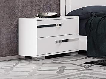 Casabianca Home Nightstand In High Gloss White Melamine With Chrome Trim High Gloss White Nightstand High Gloss White Lacquer