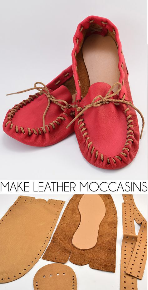 Make Leather Moccasins Ever wanted to make shoes? I had no idea it was so easy to make leather moccasins! The post Make Leather Moccasins appeared first on Do It Yourself Fashion.Ever wanted to make shoes? I had no idea it was so easy to make leather Leather Kits, Sewing Leather, Leather Pattern, Diy Leather Shoes, Diy Leather Moccasins, Diy Leather Ideas, Diy Leather Projects, Leather Crafts, Leather Case