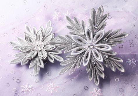 8d173df33 Kanzashi vánoční hvězda | Návody zdarma / Free tutorials | Flowers ...