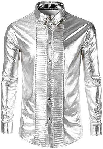 Mens Clubwear Dress Shirt Casual Long Sleeve Button Down Shirt