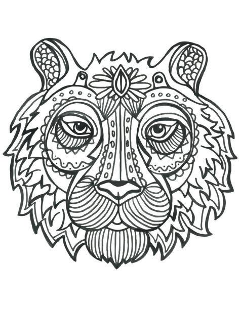 Coloriage En Ligne Gratuit Tigre.Coloriage De Animaux Tete De Tigre A Imprimer Anniversaire Tigre