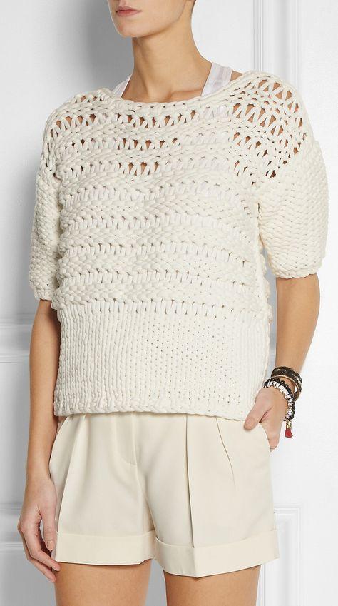 Oversized open-knit cotton-blend sweater