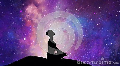 Woman Silhouette In Yoga Lotus Pose Practicing Meditation Contemplating To The Stars On A Night Sky Universe Back Girl Silhouette Meditation Deep Meditation