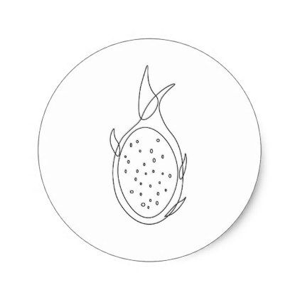 Dragon Fruit Sketch Classic Round Sticker Drawing Sketch Design Graphic Draw Personalize Fruit Sketch Dragon Fruit Drawing Fruits Drawing