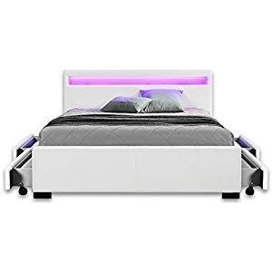 Home Deluxe Led Bed Nube White 140 X 200 Cm Incl Home