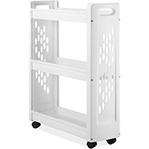 Whitmor 3 Tier Rolling Laundry Cart Space Saving Mobile Storage