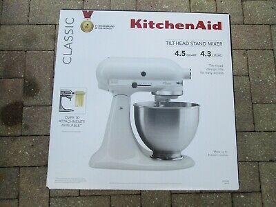 New In Box Kitchenaid Classic 4 5 Quart Tilt Head Mixer K45sswh Color White Kitchen Aid Kitchenaid Classic Kitchen Mixer