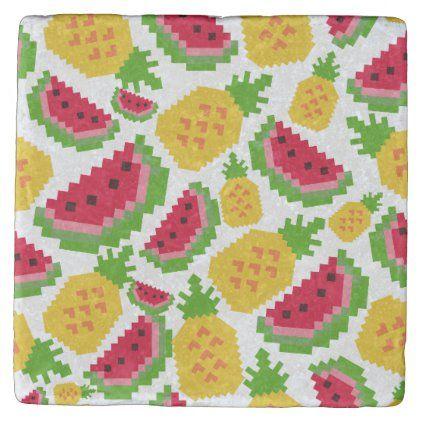 Tropical Watermelon And Pineapple Pixel Pattern Stone Coaster Zazzle Com Pixel Pattern Stone Pattern Stone Coasters