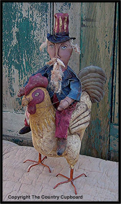 The Country Cupboard Primitive Folk Art Craft Sewing Pattern Uncle Sam Doll Riding a Rooster Home Decor