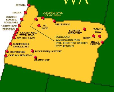 Oregon US Attractions Click On The Map Or Select From The List - Oregon map of us