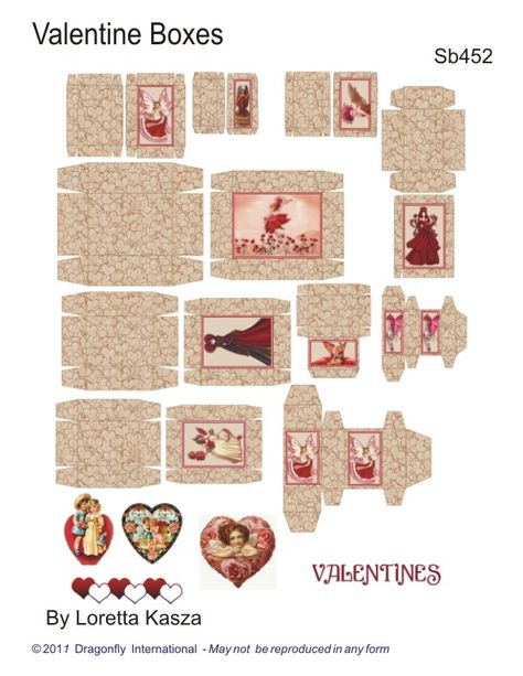 Sheet of Valentine Boxes by Dragonfly