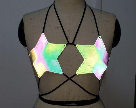 Burning Man Starlight Strappy Reflective Bra/Reflective Clothing/Festival Clothing/Reflective Star B