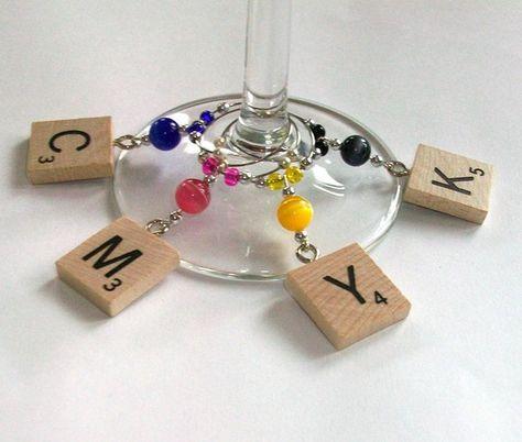 CMYK Scrabble wine charms by rbdesign on Etsy | Craft Juice