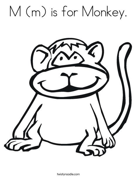 M M Is For Monkey Coloring Page Twisty Noodle Monkey