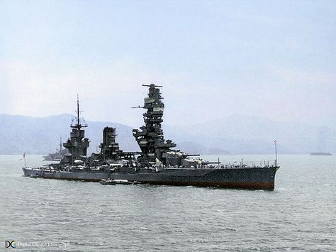 View of Pagoda superstructure of the Japanese battleship Fuso.