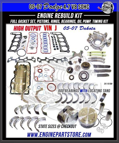 ram 1500/4.7l / sohc / v8 / 16v / 285cid / vin n commander aspen vin p ram  / 1500 dodge dakota grand cherokee dnj ek1102a engine rebuild kit for  2008-2013 /  diagenics