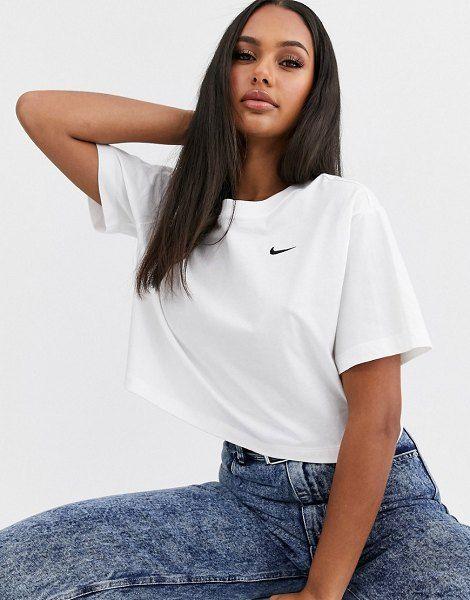 Nike White Mini Swoosh Crop T-Shirt