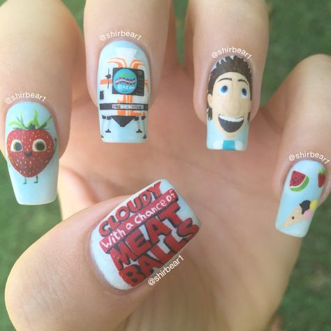 Cloudy with a Chance of Meatballs nail art, for more nail arts go follow me on Instagram @shirbear1 and check my youtube channel Shirbear1
