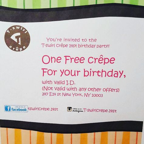 Birthday Freebie Get One Free Nyc Crepe As Your Gift From T Swirl Choose Hundreds Of Flavors Crepes Happy And Enjoy