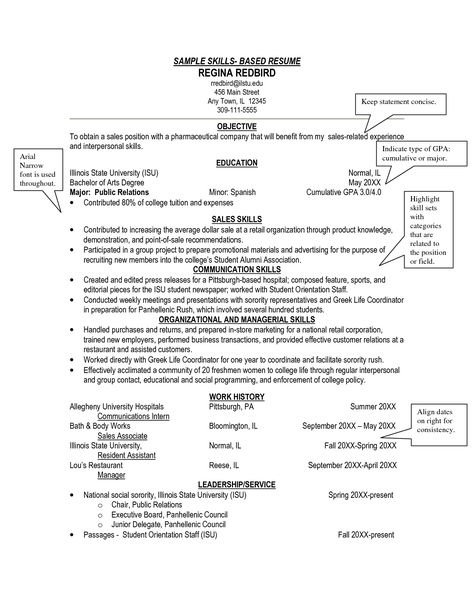 Sample Skills Resume Template Interview Pinterest Sample