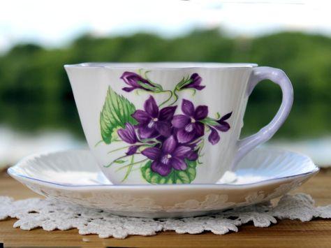 Shelley Violets Teacup and Saucer, Purple Trim, c1945-1966, Vintage Tea Cup…
