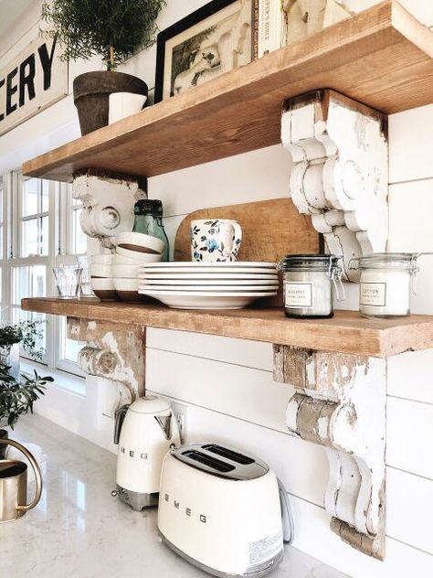 Cottage Style Kitchen Shelves – To Paint or Stain? : Cottage Style Kitchen Shelves – To Paint or Stain? Farmhouse Style Kitchen, Modern Farmhouse Kitchens, Home Decor Kitchen, New Kitchen, Home Kitchens, Apartment Kitchen, Farmhouse Sinks, Decorating Kitchen, Kitchen White