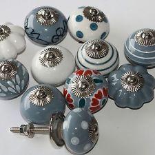 Möbelknopf,Keramik-Möbelgriff,Indien Möbelknäufe Grau-Taubenblau-Weiß  2.Wahl