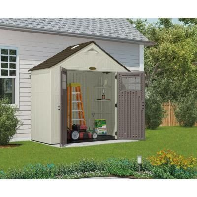 Suncast Tremont 4 Ft 3 4 In X 8 Ft 4 1 2 In Resin Storage Shed Bms8400 The Home Depot Building A Shed Shed Storage Plastic Storage Sheds