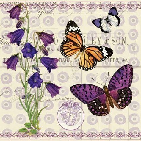 PAPER TABLE NAPKINS FOR CRAFT VINTAGE FLOWER LAVEND DECOUPAGE TEA PARTIES 494