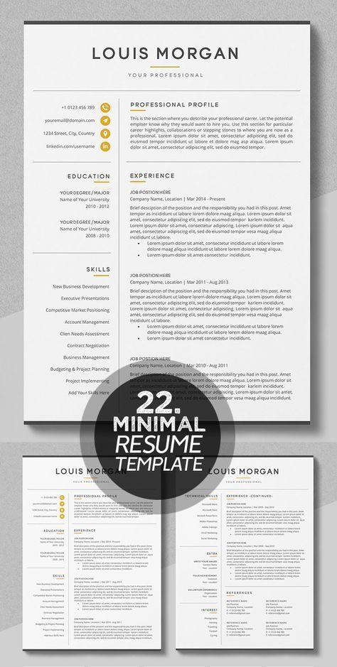 25 Best Minimalism Resume Templates 2018 Modele De Cv Creatif Conseils Pour Cv Modele Cv