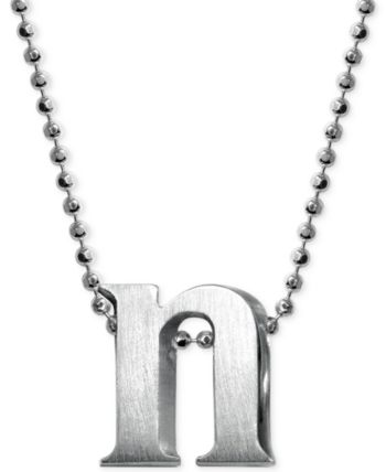 Alex Woo Sterling Silver Little Letter on Chain Pendant Necklace