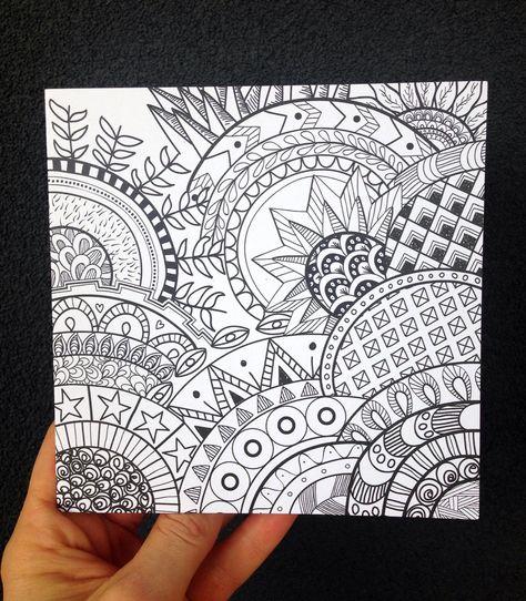 Mandalas Zentangle Black And White Patterns Blank Card Birthday Card Anniversary Card Tha Birthday Card Drawing Card Drawing Black And White Doodle