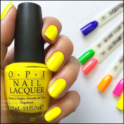 Opi Neons 2016 Swatches Review Nail Polish Yellow Nail Polish