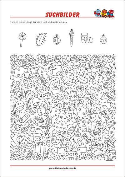 Suchbild Finde Die Versteckten Objekte Versteckte Objekte Arbeitsblatter Zum Ausdrucken Vorschule Weihnachten