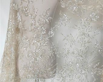 Embroidered Bridal Beaded Lace Fabric New Design High Quality Luxurious French lace Fabric For Wedding Dresses Tulle Lace Mesh Lace 5 Yards