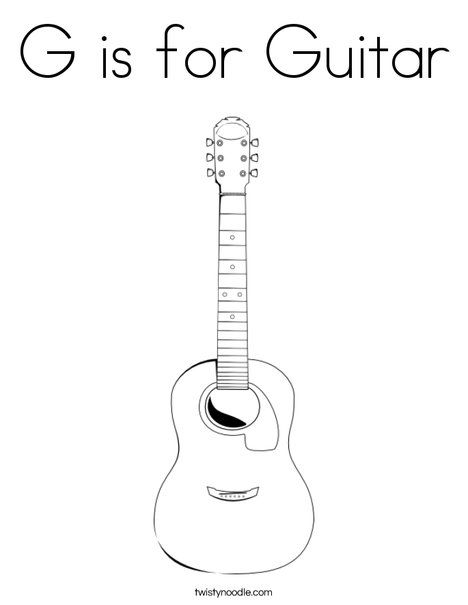 G Is For Guitar Coloring Page Twisty Noodle Guitar Coloring