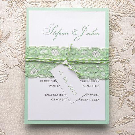 Schön Mint Einladungskarten Mit Spitze Und Kaertchen KPL053 [KPL053]   U20ac0.00 :  Günstige Einladungskarten Hochzeit Kartenpalast.de | Einladungskarten |  Pinterest ...
