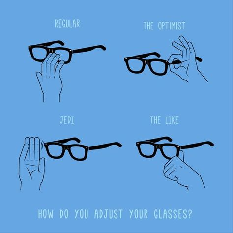 Each person has a distinctive way to adjust their glasses ... share with us how you adjust your glasses in the comments!
