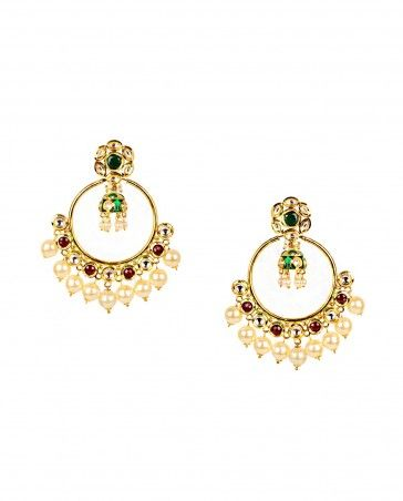 Hoop Earrings with Green Jhumka Drop Jewelery