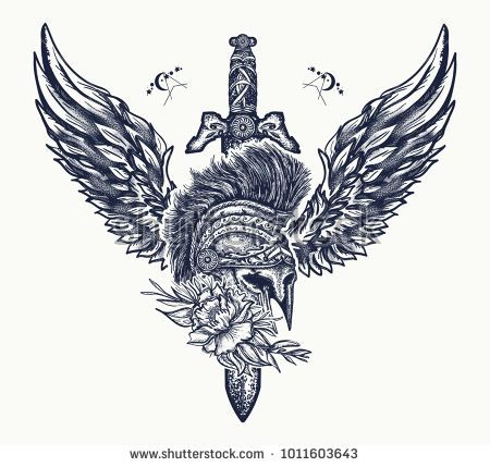 Ancient Rome and ancient Greece t-shirt design. Swords, rose and angel wings. Symbol of bravery, fight, hero and army