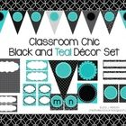 Decorate your classroom in trendy, chic black and teal. This set contains 83 pages of EDITABLE printable table signs, cubby tags, classroom supply labels, book basket signs, desk plates, word wall alphabet, welcome banner and more for a unique and stylish look.