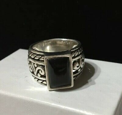 Size 5 or 6 Black Onyx Ring Inlay .925 Sterling Silver USA Made Southwest Design