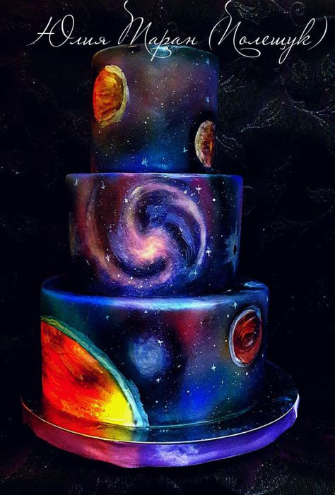 I like the galaxy image in the middle, but not the top or bottom layers. galaxy - Cake by Julia Taran