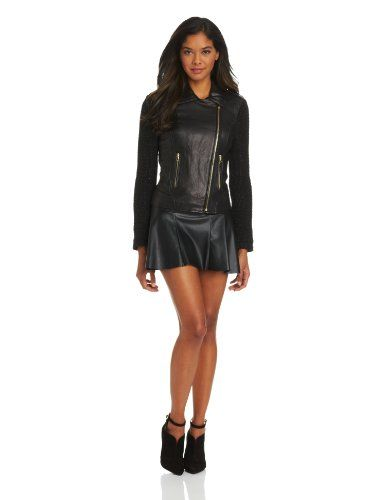 French Connection Women's Mixed Media Leather Moto Jacket with Lurex Sleeves, Black, Medium French Connection, FASHION INSPIRATION if you wish to buy just CLICK on AMAZON right HERE http://www.amazon.com/dp/B00D3IYB60/ref=cm_sw_r_pi_dp_zh5Ssb1PGVD2T93Z