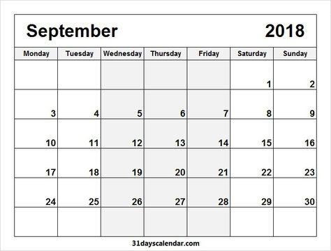 Available September 2018 Calendar Monday through Sunday 31 days