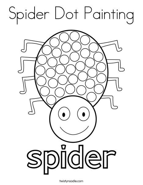 Spider Dot Painting Coloring Page - Twisty Noodle Preschool Learning Activities, Preschool Worksheets, Preschool Activities, Halloween Worksheets, Halloween Activities, Preschool Halloween, Fall Preschool, Preschool Crafts, Dot Painting