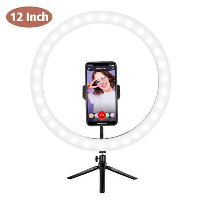 Ad 12 Selfie Led Ring Light W Tripod Phone Holder Desk Stand Dimmable For Makeup In 2020 Led Ring Light Led Ring Phone Holder